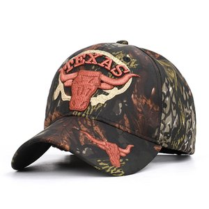 Outdoor Jungle Hunting camouflage TEXAS Casquette de baseball Velcro Camouflage Hat Bull Head Pêche Feuilles Hat