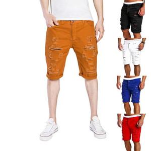 New Verão Mens Buraco curto Jeans Men algodão Estica Casual Calças Denim Shorts Moda Hot Sell cowboy calças machos