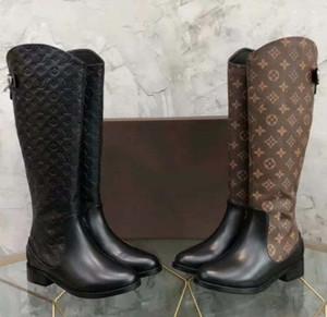 botas hasta la rodilla (DHL) la mujer de cuero reales de las botas de otoño / invierno botas de moda los zapatos de alta calidad de los zapatos ocasionales de la UE: 35-41 Con la caja
