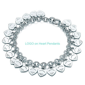 Charm Bracelet Jewelry Women Love Classic Tag Full Heart Chain Pendants Bracelets for Woman Gift 925 Silver T fine Jewelry