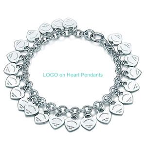 Charm Bilezik Takı Kadınlar Aşk Klasik Etiket Tam Kalp Zinciri Kolye Bilezikler Kadın Hediye 925 Gümüş T ince Takı için