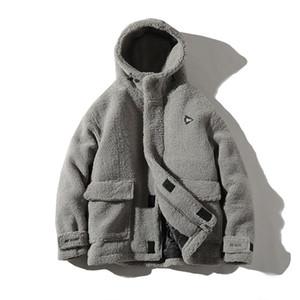 Für Männer starken warmen Lamb Hair Fashion mit Kapuze gestickte Baumwolle Jugend Wilder Jacke langärmelige Jacke Männlich