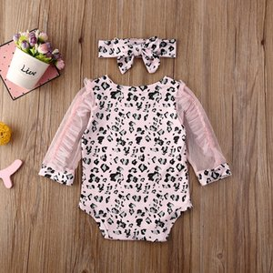 Boutique Kid Clothes 2020 Newborn Baby Kids Girls Ruffle Lace Long Sleeve Leopard print Bodysuit Jumpsuit Outfit Clothes