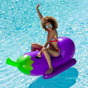 Wholesale-190cm 75inch Giant Inflatable Eggplant Pool Float 2018 Summer Ride-on Air Board Floating Raft Mattress Water Beach Toys boia