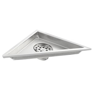 Triangle Shaped Shower Drain with Removable Lid, Brushed 304 Stainless Steel, Bathroom Shower Drain