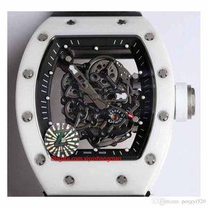 relógio RC48-9 Designer, design esqueleto, série RM055, caixa de cerâmica, movimento automático, pulseira de borracha importada, fivela dobrável. colo múltipla