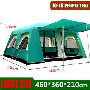 Outdoor grandi tende 460 * 360 * 210 cm di larghezza partito Camping Tented Camps Family Cabin tenda per 5 8 10 uomini 12 14 16 Person Shelter alto