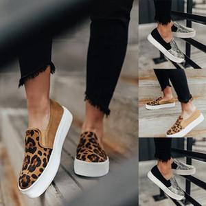 Leopard Квартира обуви женщина случайной платформ обуви женщина Мокасины Мода змеиного Роман Холст обувь дама Круглый Toe Ленивый
