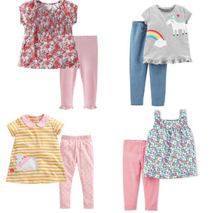 kız bebek Sevimli giysileri Çocuklar% 100 Pamuk yaz kızın set Kısa kollu Tam FLower Gökkuşağı Tişörtlü + Pant çocuk giyim setleri setleri