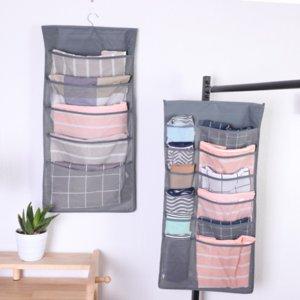 Nuevo Armario grandes bolsillos que cuelgan del organizador del almacenaje del sostenedor de la ropa interior calcetines del lazo de los hogares de almacenamiento Organizador Bolsa