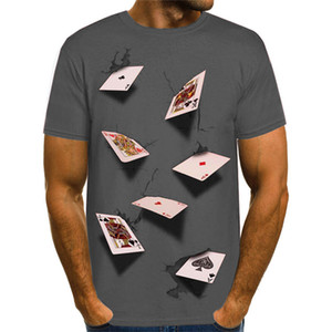 3D Poker Designer Mens Casual T-shirts Summer Fashion Elegante Casual Top Manga Curta Tees