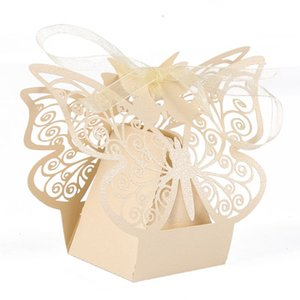 10 pcs Wedding Gift Boxes Bags Butterfly Candy Box Hollow For Baptism Communion Baptism Birthday Party Supplies
