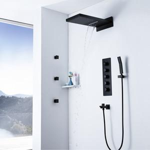 벽 마운트 강우량 샤워 헤드 폭포 욕실 황동 블랙 온도 조절 샤워 수도꼭지와 스프레이 마사지 비가 제트