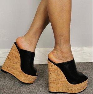 Meninas baratos Preto PU Peep Toe Platform Wedges Slippers Sandals Super Salto deslizamento sobre Casual Bombas sapatos confortáveis