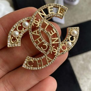 New hot sale full diamond wild fashion trend brooch classic cc letter hollow woman brooch