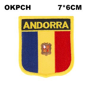 Bandera de Andorra Bordado Hierro en parche Bordado Parches Insignias para ropa PT0014-S