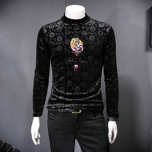 2019 giovani nuova T-shirt in cashmere coreano uomini autunno e l'inverno più velluto spesso animalier collo alto che basa la camicia