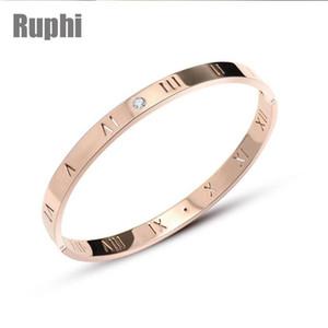 Acero de titanio pulido fino crysals Roma Digital minimalismo amantes brazalete pulsera de San Valentín ornamento joyería