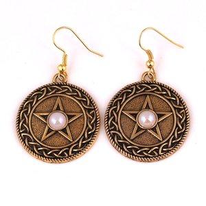 HY151 Viking círculo religioso colgante mujer pendiente amuleto chapado en oro pentagrama pendientes con piedras preciosas elección de color