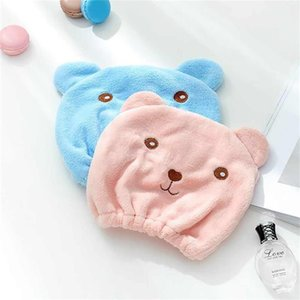 Cartoon cute bear shower cap Microfiber Hair Turban Quickly Dry Hair Hat Wrapped Towel Bathing shower cap bathroom cap