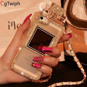 Casos de garrafa de perfume strass luxo para apple iphone 8 8 plus 7 7 plus tampa traseira suave tpu silicone phone case com corrente