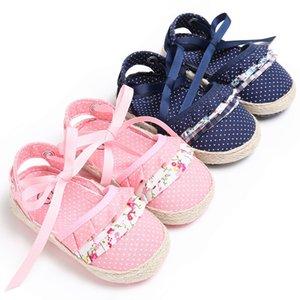 Bébé Fille Sandales D'été Bébé Fille Chaussures Coton Toile Dotted Bow Sandals Chaussures Nouveau-Né Playtoday Beach