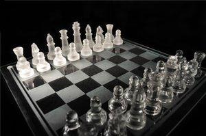 Junta de acrílico del envío de DHL de ajedrez de cristal de alta calidad Anti-roto elegante juego de ajedrez de cristal conjunto de ajedrez grande 35 cm de tamaño