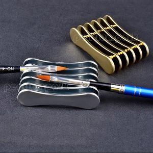 5 شبكات مسمار الفن القلم حامل الاكريليك الأشعة فوق البنفسجية هلام فرشاة حامل التخزين عرض موقف أداة ~ ذهبية / فضية اللون