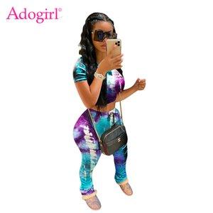 Adogirl Tie Dye Imprimer Femmes Survêtement à manches courtes T-shirt Crop Top froncé Pantalon de jogging Deux Piece Set Femme Vêtements de sport Casual