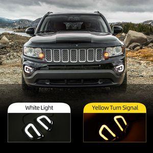 2pcs para Jeep Compass 2011 2012 2013 2014 2015 2016 Día de luz LED DRL Daytime Running Lights Luz antiniebla con luz de la vuelta