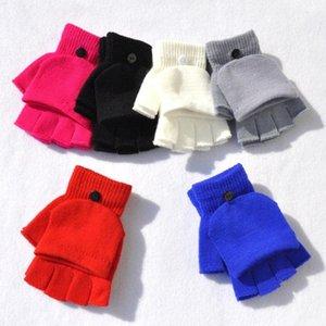 Перчатки для девочек женщин трикотажных Флип зимних перчаток Warm Wool подвешивание Перчатка универсиада Теплого Половина Finger Покрытие варежка благосклонность партия RRA2547