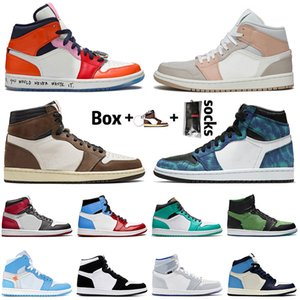 Nike Air Jordan Retro 1 1s Travis Scott أعلى أحذية عالية ترافيس سكوت كرة السلة لا يعرف الخوف في منتصف ميلان TIE-DYE الأسود تو تويست المتسابق الأزرق رجل إمرأة المدربين أحذية رياضية
