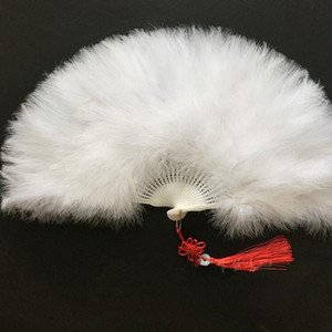 Espesar color mullido plegable pluma del marabú mano de los ventiladores muchachas de las mujeres del partido de danza del ventilador Rendimiento favorece el regalo de boda