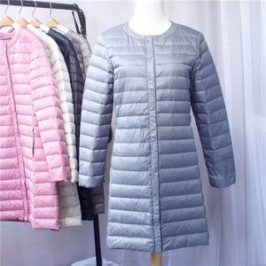 Sanishroly Mujeres Ultra Light Down Coat Otoño Invierno Parka Hembra White Duck Down Jacket Abrigo Largo Abrigo Más Size4XL SE367