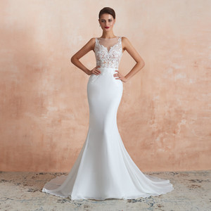 2019 Sexy Sheer Bateau Neck Mermaid Wedding Dresses Long Formal Chiffon Wedding Gowns Sexy Lace and See Through Back Garden Bridal Dresses