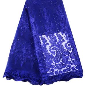 2019 Dernières perles française du Nigeria Lacets Tissu de haute qualité Tulle Laces africaine Tissu de mariage Africain Français Tulle Dentelle 1492