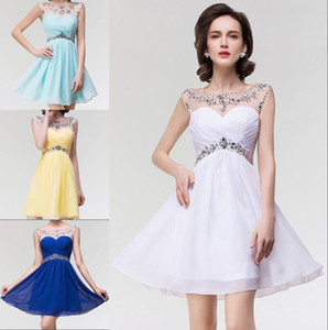 2020 Em Stock strass frisado curtas Vestidos Homecoming Sheer Crew Neck Chiffon Backless Mini Cocktail Party Gown Prom Formal Wear CPS094