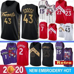 NCAA 7 Kyle Lowry 2 Kawhi Leonard Forması Toronto Raptors Erkek Çocuklar 43 Pascal Siakam 23 Fred VanVleet Retro 15 Vince Carter Basketbol Forması Dikişli