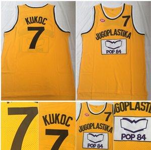 Qualidade máxima ! Toni Kukoc Jersey 7 Jugoplastika Dividir Moive College Basketball Jerseys Amarelo 100% costurado Tamanho S-2XL