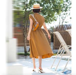Short Sleeve Chiffon dress women's summer 2020 new V-neck waist over knee long skirt shows thin temperament fashion skirt children
