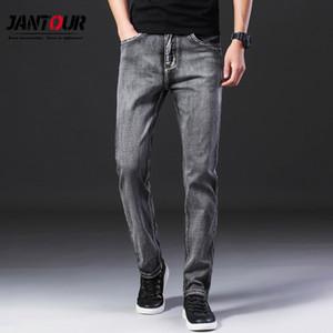 Jantour Brand 2019 Otoño Invierno Moda Hombre Jeans Casual Casual Stretch Slim Grey Jean Pantalones Clásicos Pantalones Denim Hombre