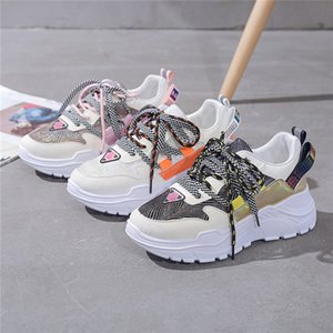 Women's vulcanized shoes 2020 new color-matching Sneakers casual shoes women's European platform thick bottom daddy