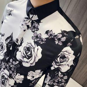 Mens Rosa ha stampato le camice di vestito Patterns pulsante Su maniche lunghe Slim Fit Wedding del partito del randello di modo maschio Tops