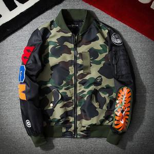 Harajuku Piloto Força Aérea MA1 Outono Jaqueta de Beisebol Dos Homens Fino Camuflagem Bordado Moda Streetwear Casacos Outerwear Do Exército