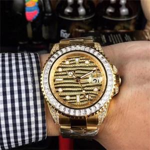 2020 del diamante pieno di lusso del progettista del Mens della vigilanza Orologi movimento meccanico automatico Sweep Appartamenti -Winding polso Reloj de Lujo