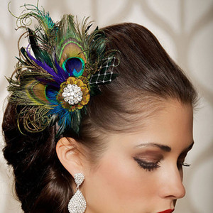 2020 New Cheap Peacock Feather Bridal Head Flower Wedding Headdress Mesh Yarn Bridal Hat Wedding Accessories