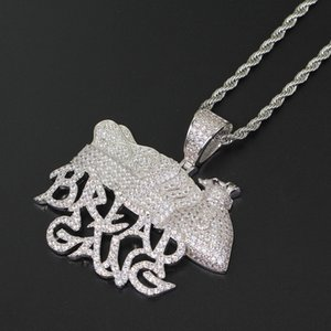 Collana Collana all'ingrosso-Pane Gang Money Bag Corona Uomini Lab piena diamante placcato Hip Hop rame Jewelly
