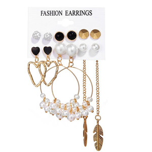 Vintage Gold Color Pearl Big Circle Earrings Set for Women Fashion Geometric Acrylic Square Imitation Pearl Crystal Zircon Earrings Jewelr