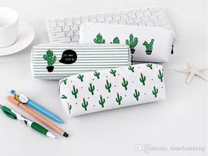 Partysu Kalem Çantası Yaratıcı Cactus Tuval Kalem Kutusu Üçgen Modelleri Sekizgen Bölüm Geniş Kapasiteli Kırtasiye Çanta İçin Öğrenci