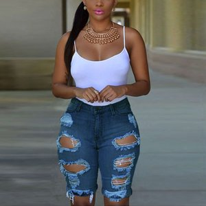 2019 Sexy Summer New Fashion Women Ripped Holes Knee -Length Jeans Denim Pants Skinny High Wasit Blue White Casual Pencil Pants Wholesale